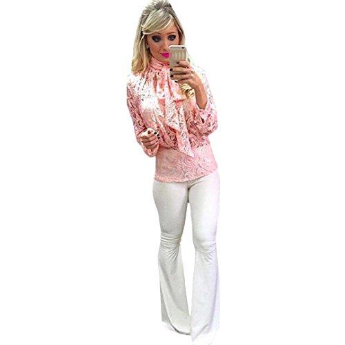 Vovotrade Mode élégant Femmes Dentelle Sexy Casual Blouse Tops pour Jupe Pantalon Correspondant Rose