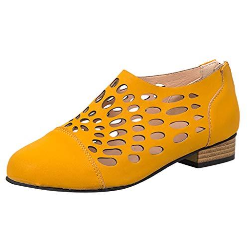 Wawer🍒 - Mode Retro-Stil Reißverschluss hinten Loch Schuhe Flache Schuhe-Große Damenschuhe Frauen Espadrilles Lässig Sandalen Strandschuhe Einzelne Schuhe High Heels
