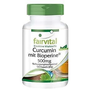Curcumin mit Bioperin 500mg, 120 Kapseln für 2 Monate - VEGAN - Curcuma-Extrakt mit 95% Curcuminoide