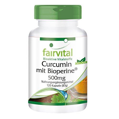Curcumin mit Bioperin 500 mg, Kurkuma-Extrakt standardisiert auf 95 Prozent Curcuminoide, 120 Kapseln, Vegan, Curcuma Longa Wurzel (Gelbwurzel), Made in Germany
