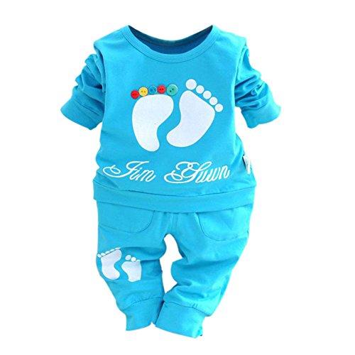 Hankiki Baby Mädchen Spitze Kleidung Set Top Langarm Shirt + Pants Kleidung Set (Kostüme Double Date)