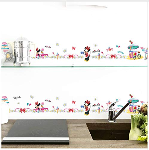 HAJKSDS Pegatinas Pared DIY Mickey Minnie Daisy Duck Bordear Línea Niños Decorativos del Bebé Vivero Pegatinas De Pared Decoración del Hogar Calcomanía Mural Poster Regalo