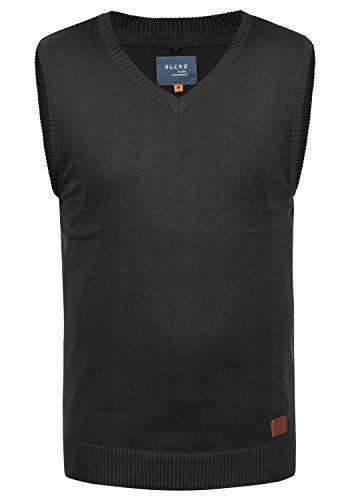 Blend Larsson Herren Pullunder Strickweste Feinstrick Mit V-Ausschnitt, Größe:L, Farbe:Black (70155)