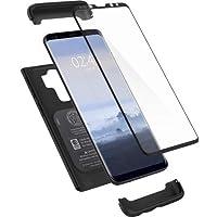 Spigen [Thin Fit 360] Funda Galaxy S9 Plus con Protección completa exacta fina con 1 pieza de protector de pantalla de vidrio templado para Galaxy S9 Plus (2018) - Negro