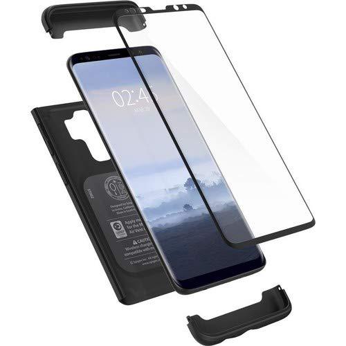 Spigen Thin Fit 360 Samsung Galaxy S9 Plus Hülle (593CS22959) 360° Rundumschutz-Schale mit Gratis Panzerglas Handyhülle Schutzhülle Case (Schwarz)
