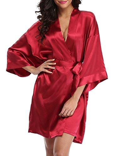 Vintava Damen Satin Hochzeit Bademantel Kurz Kimono Bademantel für Braut Brautjungfer - Rot - X-Large
