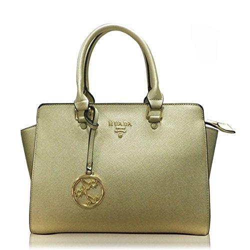 Yacn-Custodia in vera pelle da donna, maniglia superiore Handbag Queen-Borsa da donna con tracolla d'oro