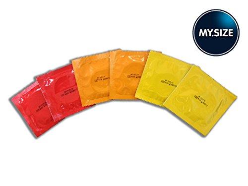 My.Size Kondom-Probepackung,6Kondome insgesamt, mittlere Größe, 2Stück von jeder Größe: 53, 57, 60 mm.