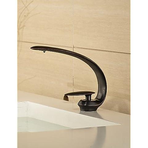 JIUUIHF orbe estilo contemporáneo monomando un agujero lavabo del baño de agua caliente y fría del grifo - negro , gray