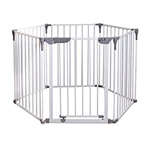 Dreambaby Royale Converta 3 in 1 Playpen, fireguard, and Room Divider (fits up to 3.8m) White  World innovation retractable safety gate in white PVC free plastic to fit openings from 55 - 89cm Auto Foldable - Automatically folds back when opened and fitted inside a door frame: 64.5 - 89 cm and fitted outside a door frame of  55 - 79.5 cm Safety gate for narrow to wide openings or where a conventional gate will not fit 9