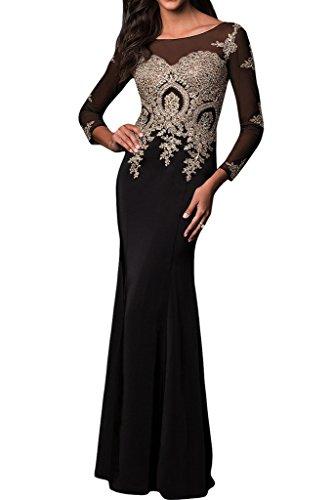 Prodotto di alta qualità manica lunga donna Ivydressing punta, applicazione Bete vestito da sera abito da festa Nero