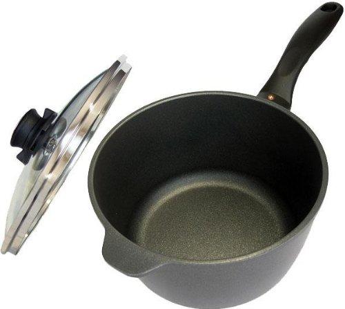 Swiss Diamond Non-stick Cast Aluminium 2 Litre Sauce Pan with Glass Lid, 18 cm, Grey/Black