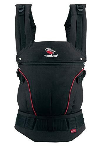 manduca First Baby Carrier > HempCotton Black/Red < Babytrage aus weichem Canvas (Hanf & Bio-Baumwolle) Rückenverlängerung, Ergonomischer Hüftgurt, für Babys & Kinder von 3,5-20kg (schwarz/rot)