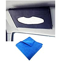Automaze Car Sun Visor Black Tissue Napkin Box Holder | Interior Accessories | Free Microfiber Cleaning Cloth(30 X 30cm)