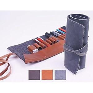 Stiftrolle aus vegetabil gegerbtem Vollrindleder, 13 Schlaufen - made by KALOS, Germany Stifte Etui, RollUp Mäppchen, Stiftrolle, Rollmappe, Leder