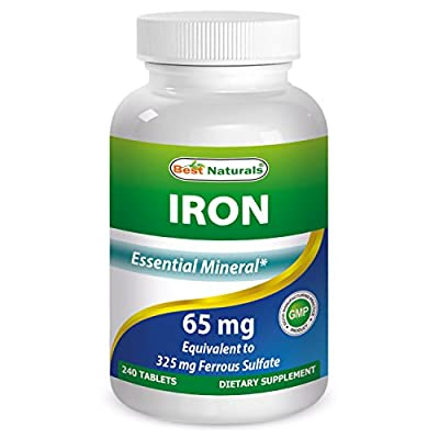 Iron 65 mg 240 Tablets by Best Naturals - Essential Mineral - Helps Maintain Energy Utilization - Manufactured in a USA Based GMP Certified Facility and Third Party Tested for Purity. Guaranteed!! from Best Naturals
