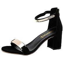 c011ffa7e8fad Beauty-Luo Sandali Donna con Tacco Eleganti Sandali Estivi Open Toe Sandali  Donna Tacchi Spessi