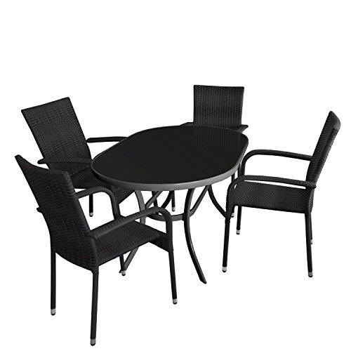5tlg. Gartengarnitur - Glastisch oval Gartentisch mit schwarzer Tischglasplatte 140x90cm + 4x Rattan Stapelstuhl mit schwarzer Polyrattanbespannung - Sitzgruppe Sitzgarnitur Gartenmöbel Terrassenmöbel