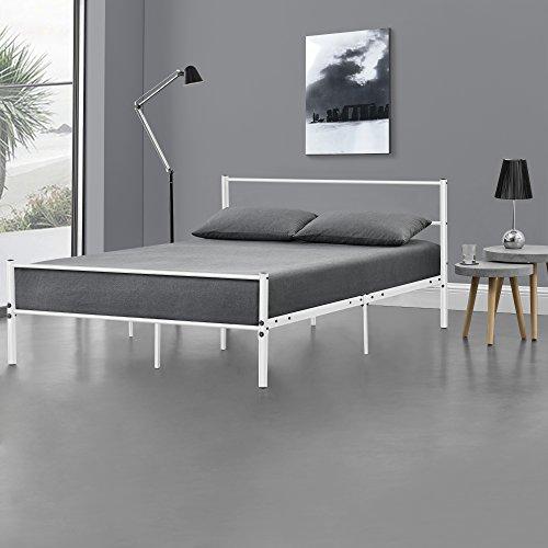 [en.casa] Metallbett 120 x 200cm Weiß - Bettgestell Design Bett Schlafzimmer Metall