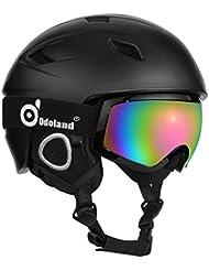Casco de nieve con gafas de esquí, unisex casco de deportes de nieve y gafas para hombres y mujeres, a prueba de golpes y ajuste universal, casco de protección y gafas para esquí de snowboard y más