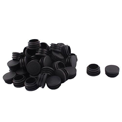 Dealmux Plastique meubles Chaise de bureau de tube rond Insert Tuyau Coque 32 mm de diamètre 50 pcs Noir