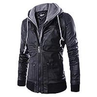 معطف جلدي من Coolred للرجال وهمية قطعتين بسحاب مقنعين للخروج اسود US L=China XL