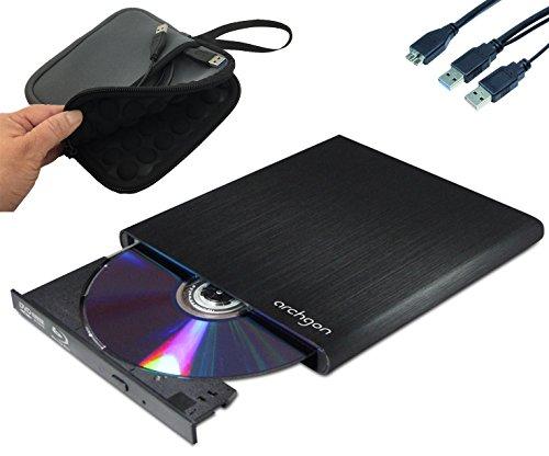 Archgon Externer Blu-ray Brenner Player USB 3.0 BDXL M-Disk DVD Style, Tray Load disc Drive, Aluminium schwarz mit Neopren Tasche - kompatibel mit PC und Mac MacBook Pro, Air, iMac