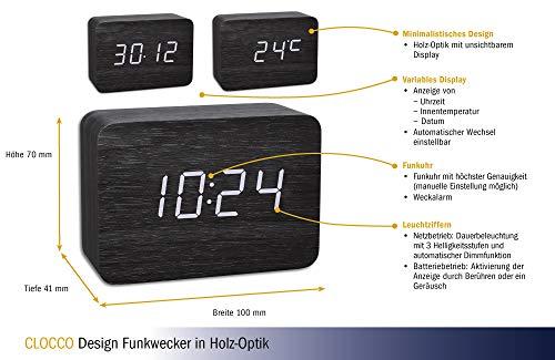 TFA Dostmann Design Funk-Wecker in Holz-Optik Clocco, 60.2549.01 Kunststoff weiß/schwarz