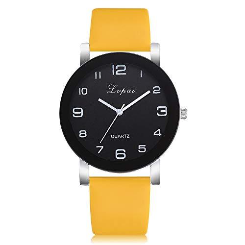 Bestow Reloj de Pulsera de Cuarzo Anal¨gico para Mujer Reloj de Pulsera de Cuarzo Anal¨gico para Mujer Lvpai(Amarillo)