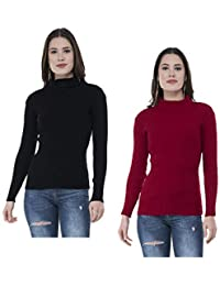 IndiWeaves Women's Woollen Warm Full Sleeves High Neck Skivvy Top (Multicolour, Free Size) - Pack of 2