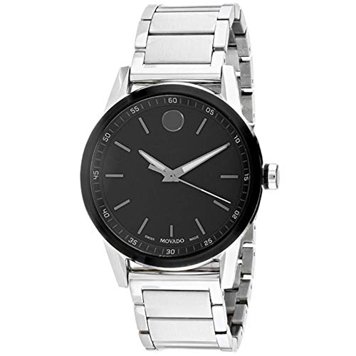 Movado Men's Museum Sport 41mm Steel Bracelet & Case Sapphire Crystal Quartz Black Dial Watch 607225