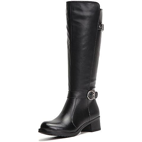 HUSK'SWARE Nero Moda Lunghi Boots/Stivali Donna Invernali In Vera Pelle Cavaliere stivaletti