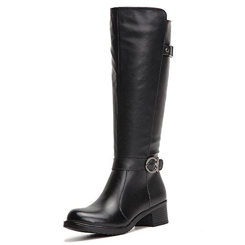 HUSK'SWARE Nero Lunghi Boots/Stivali Donna Invernali In Pelle Cavaliere stivaletti