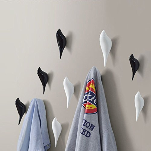Hyfanstr 2 pack resina uccello appendiabiti da parete decorazione porta asciugamani, nero