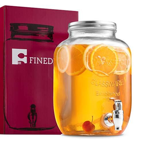 finedine Glas Getränke Spender Mason Jar mit Auslaufsicher Spigot, 1Liter - Glas Dispenser Spigot