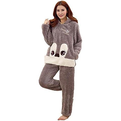 LIUDOUEspesar con capucha de dibujos animados Linda franela ladies pijama conjunto manga larga con pantalones de Pj , 3# , m