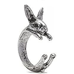 Serebra Jewelry anillo conejo con tinte plateado ajustable