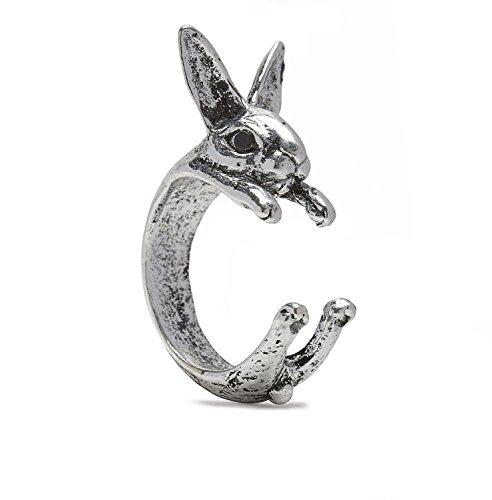 Anillo con diseño de conejo plateado, tamaño regulable, serebra Jewelry