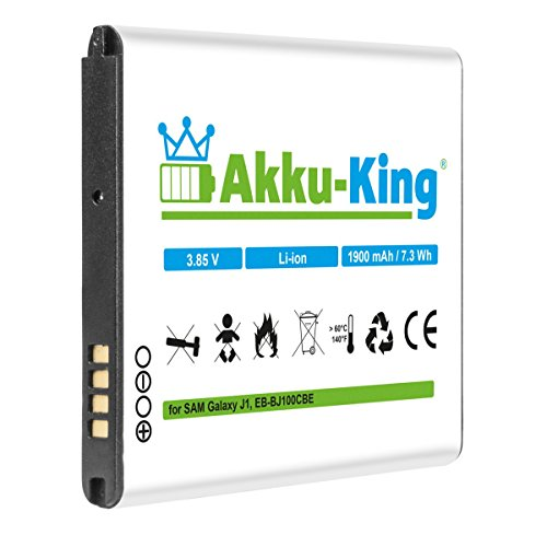 Akku-King Akku ersetzt Samsung EB-BJ100CBE - Li-Ion 1900mAh - für Galaxy J1, Galaxy J1 Duos, SM-J100H