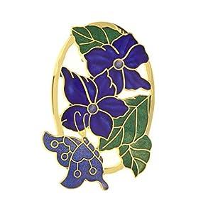 Behave® Damen Einzigartige ovale Brosche mit Blüten und mit Schmetterling aus Emaille