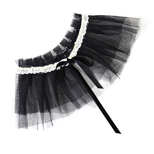 MI TU Women Double Layer Mesh Wedding Shawl Bolero Floral Lace Patchwork Pleated Fake Collar Faux Pearl Decor Bridal Shrug Wrap Detachable Pleated Faux Wrap