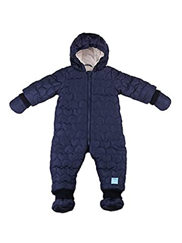 Oceankids Baby Boys Baby Girls Navy Blue Infant Overall Down Quilted Jumpsuit with Mink Lining 6-9
