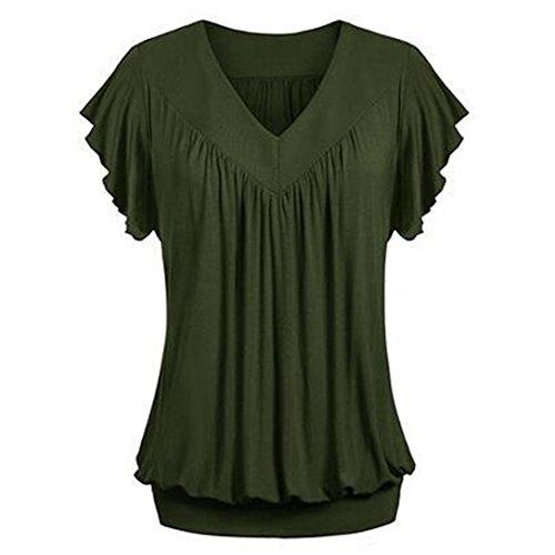 Overdose Frauen Plus Größe Lose V-Ausschnitt Kurzarm Solid Farbe Tops Plissee Bluse T-Shirt Damen Sommer Tops Oberteile(Army Green,S)