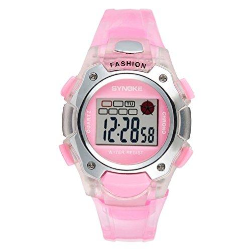 Wasserdicht Kinder-Armbanduhr, mamum SYNOKE SYNOKE Multifunktions-30m Wasserdicht LED Digital Double Action Watch Einheitsgröße rose