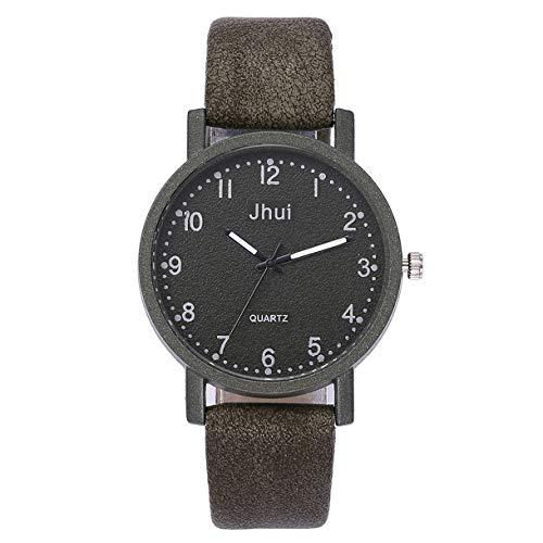 Floweworld Damen Casual Scrub Quarz Uhren Lederband New Strap Watch Fashion Einfache Analog Armbanduhren - Creme Seersucker