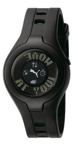 Puma - PU910212002 - Montre Femme - Quartz Digital - Cadran Noir - Bracelet Caoutchouc Noir