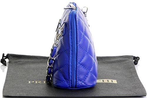 Italienische Leder Classic Design Diamant-Form Gepolsterte Schultertasche Handtasche enthält eine Staubschutztasche Mini-Königsblau