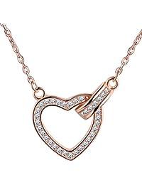 SIXLUO Damen Frauen Mädchen 925 Sterling Silber Herz Halskette Kette  Zirkonia Anhänger Verstellbare Kette Rosegold 279b02926e