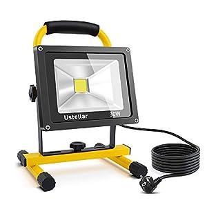 Ustellar Foco LED Portátil 30W, 2400LM Proyector LED Reflector de Exterior/Interior, Impermeable IP65 Foco Luz Trabajo, Blanco Frío 6000K con Cable 5M y Enchufe de EU para Camping, Patio, Terraza