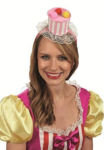 Cupcake Damen Kostüm - Cupcake Haarreif zum Kostüm - Süßer Törtchen Clown Hut für Fasching und Party